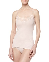 Hanro Valencia Lace Trimmed Ribbed Camisole Dusty Rose