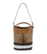 Burberry Shoes And Accessories Medium Ashby Check Tassel Bag Female Tan