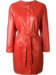 Sylvie Schimmel Belted Leather Coat Red