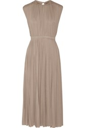 Valentino Pleated Silk Jersey Midi Dress Beige