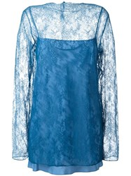 Nina Ricci Transparent Lace Overlay Blouse Blue