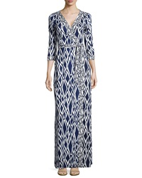 Diane Von Furstenberg New Julian Ikat Print Maxi Wrap Dress