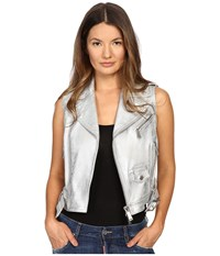 Dsquared Lamb Leather Silver Leather Gilet Top Silver Women's Clothing