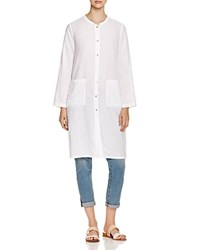 Eileen Fisher Mandarin Collar Lightweight Jacket White