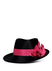 Piers Atkinson Orchid Floral Applique Straw Trilby Hat Black