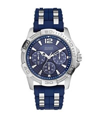 Guess Mens Masculine Sport Navy And Silvertone Watch Blue