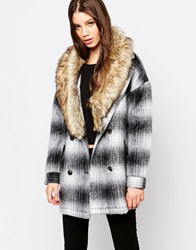 Bellfield Check Jacket With Faux Fur Trim Black