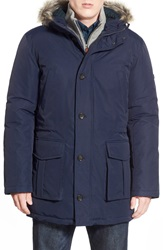 Ben Sherman Ballistic Nylon Hooded Parka With Faux Fur Trim Navy Blue