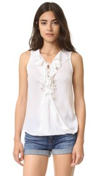 Ella Moss Miko Lace Up Ruffle Blouse White