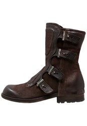 A.S.98 Shield Cowboy Biker Boots Choco Dark Brown