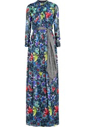 Matthew Williamson Jardin Printed Silk Chiffon Gown Blue