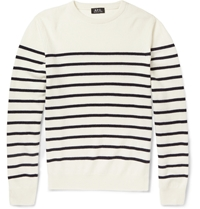 A.P.C. Striped Wool And Cashmere Sweater White