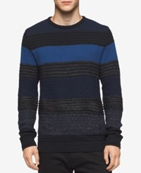 Calvin Klein Men's Striped Crew Neck Sweater Black Blue Combo