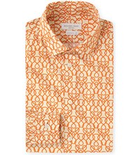 Richard James Rope Link Print Contemporary Fit Cotton Shirt Orange