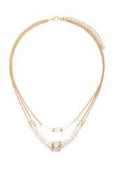 Forever 21 Faceted Bead Layered Necklace Gold Light Pink