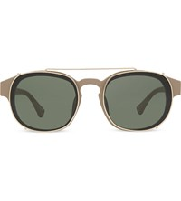 Dries Van Noten Dvn80 Clip On Rectangle Sunglasses Sand And Gold