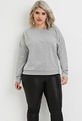 Forever 21 Plus Size Rhinestone Embellished Pullover Grey Clear