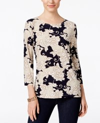 Jm Collection Floral Print Jacquard Top Only At Macy's Navy Blossom