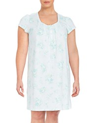 Miss Elaine Plus Floral Knit Nightgown Aqua Mint