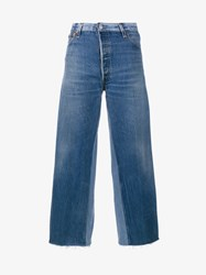 Re Done High Rise Cropped Jeans With Two Tone Detail Blue Golden Denim