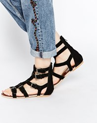 Ravel Gladiator Leather Flat Sandals Black