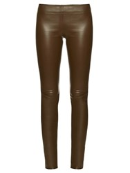 The Row Moto Leather Leggings Khaki