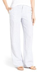 Women's Caslon Linen Sailor Pants Blue Ticking Stripe