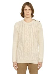 Balmain Mohair Blend Cable Knit Sweater