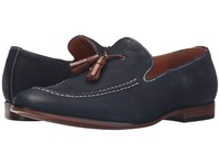 Steve Madden Taflan Navy Nubuck Men's Slip On Dress Shoes Blue