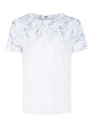 Topman White And Blue Faded Marble Print T Shirt