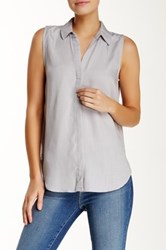 Andrea Jovine Sleeveless Collared Blouse Gray