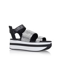 Dkny Valene Wedge Sole Sandals Silver