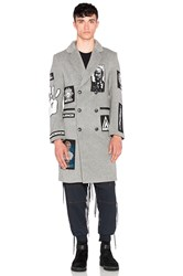 Ktz Double Breasted Long Coat With Patches Gray