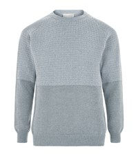 John Smedley Textured Chunky Wool Blend Sweater Male Light Grey