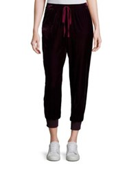 Saks Fifth Avenue Velvet Cropped Jogger Pants Burgundy Navy Grey Black