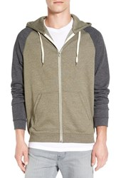 Men's 1901 'Denny' Two Tone Raglan Zip Fleece Hoodie Green Forest