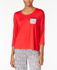 Ellen Tracy Contrast Trimmed Pajama Top Red