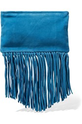 Maje Fringed Suede Clutch Blue