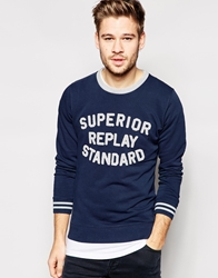 Replay Crew Sweatshirt Terry Towling Logo Navy