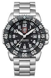 Luminox 'Sea Steel Colormark' Bracelet Watch 44Mm Silver Black