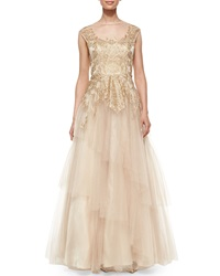 Rickie Freeman For Teri Jon Cap Sleeve Lace And Chiffon Layered Tulle Gown Gold
