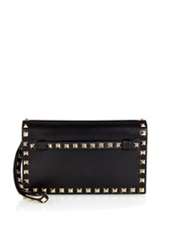 Valentino Rockstud Small Leather Clutch Black