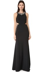 Marchesa Crepe Gown With Cutouts Black