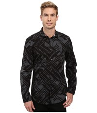 Calvin Klein Long Sleeve Geometric Camo Print Shirt Tornado Men's Long Sleeve Button Up Brown