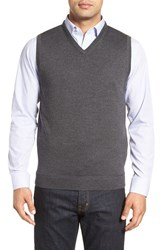 John W. Nordstromr Men's Big And Tall Nordstrom V Neck Merino Wool Sweater Vest Grey Dark Charcoal Heather