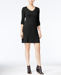 Kensie Long Sleeve T Shirt Dress Black