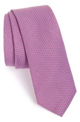 Men's Calibrate Solid Silk And Cotton Tie Purple