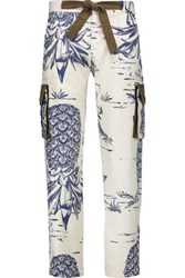 Sea Printed Cotton And Silk Blend Straight Leg Pants Ivory