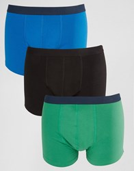 Asos Trunks 3 Pack With Contrast Waistband Black Green Blue Multi