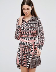 Ax Paris Printed Belted Shirt Dress Salmon Pink
